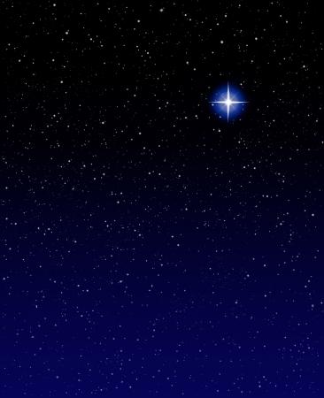 Een stralende ster tegen een ster veld achtergrond met blauwe tinten.