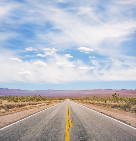 An empty desert road in Mojave National Monument. photo