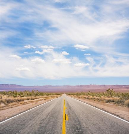 desert highway: An empty desert road in Mojave National Monument.