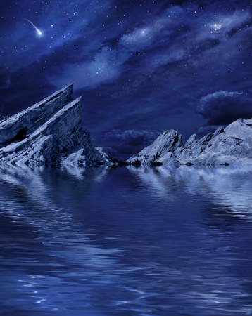 A desert landscape at night with moonlight and stars reflected in a calm lake.   photo