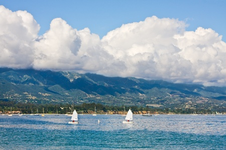 barbara: The Santa Barbara coastline with foreground sailboats.