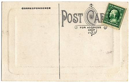 embossed paper: The backside of an old postcard from the early 1900s.
