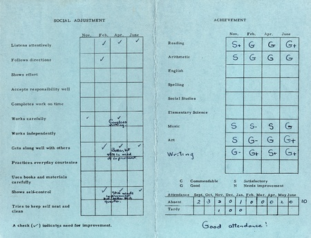 school aged: An old, mottled American grade school report card (first grade) from 1962 to 1963. Stock Photo