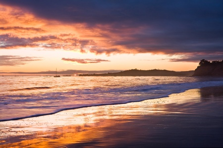 A sunset with dark storm clouds in Santa Barbara, California. Stock Photo - 10533687