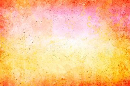 Een papieren achtergrond met geel-rode grunge patronen. Stockfoto