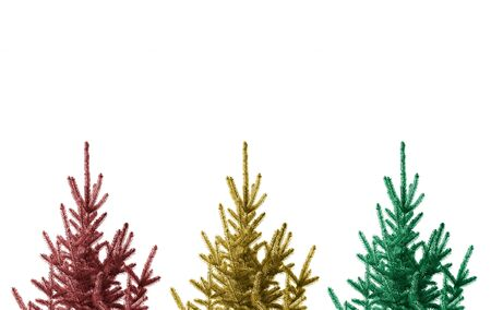 xmas background: Three Christmas trees isolated on a white background.