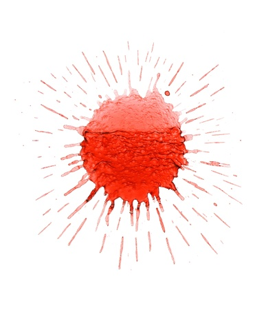 abstruse: Splattered red ink on a white background. Stock Photo