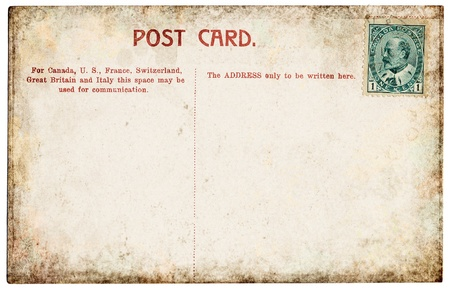 The back side of an old Canadian postcard from the early 1900s.