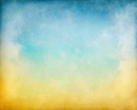 Fog, mist, and clouds with a yellow to blue gradient.  Image has a pleasing paper texture and grain pattern visible at 100%.