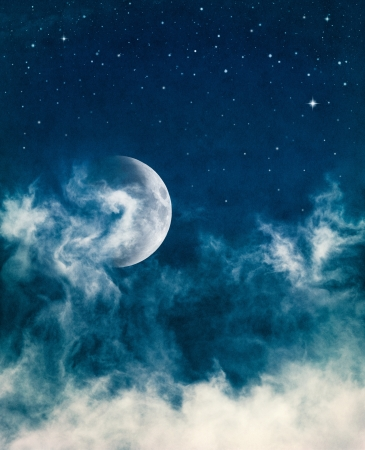 dramatic sky: The moon and swirling fog with subtle cross-processed colors.  Image has a beautiful paper texture and grain at 100%.