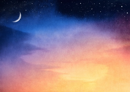 A fantasy sunset with a dark blue to yellow gradient.  Image has a pleasing paper texture and grain visible at 100%. Stock Photo - 11108407