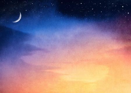 noche y luna: Una fantas�a puesta de sol con un gradiente de azul oscuro a amarillo. La imagen tiene una textura de papel agradable y grano visible al 100%.