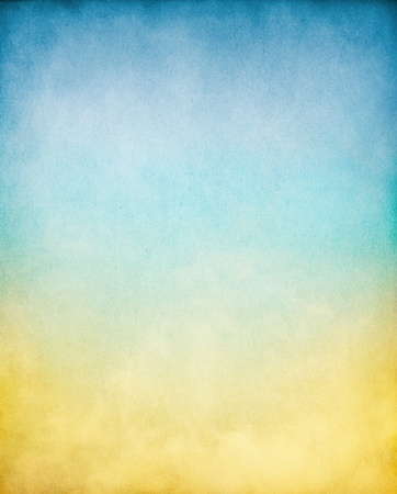 Fog, mist, and clouds with a yellow to blue gradient.  Image has a textured paper overlay and grain pattern visible at 100%. photo