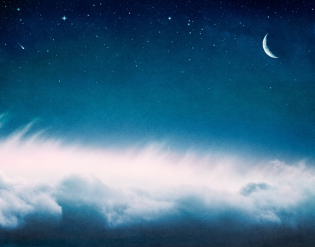 A fantasy cloudscape with stars and a crescent moon with subtle pink highlights.  Image has a pleasing paper grain and texture at 100%.