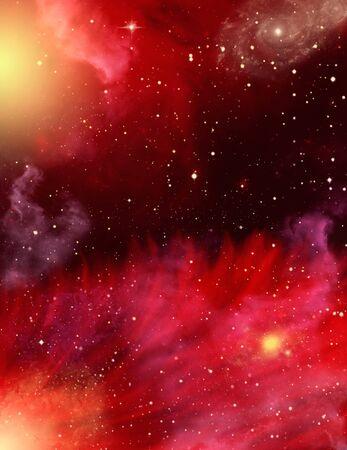 outerspace: Un campo de estrellas con Nieblas rojo y morado.