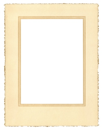 deckled: A vintage paper frame from about 1900 with a decorative border and a true deckle edge.  File includes a clipping path. Stock Photo