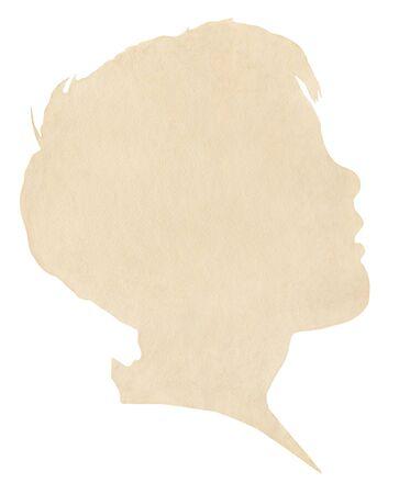Una silueta de papel de la vendimia de perfil de un chico joven. Imagen muestra un grano de papel agradable al 100%. Incluye trazado de recorte. Foto de archivo - 11450059