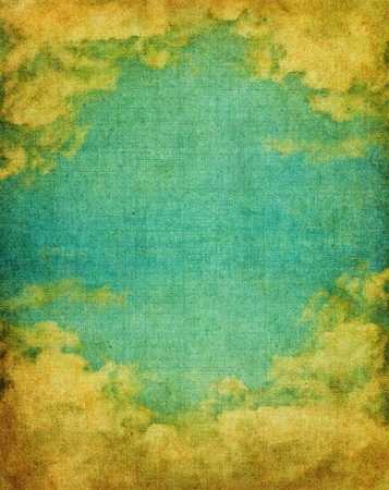 crosshatching: Vintage clouds and sky with a grungy background screen texture.  Image has a pleasing paper grain at 100%.