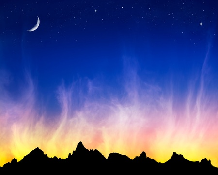 swirling: Fiery clouds at sunset with the moon and stars against a mountain silhouette. Stock Photo