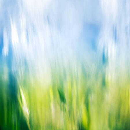 rendition: A diffused motion-blur rendition of fresh spring grass and sky. Stock Photo
