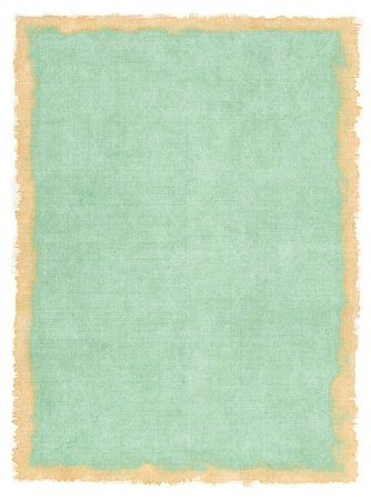deckled: An old cloth book cover with vintage colors and a stained watercolor border. Stock Photo