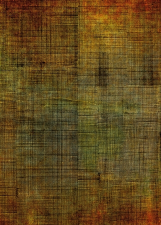 crosshatching: A vintage cloth book cover with a multi-colored crisscross pattern and grunge stains.  Image has a pleasing grain texture at 100%. Stock Photo