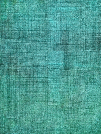 A turquoise, vintage cloth book cover with a heavy sceen pattern and grunge background textures.   Archivio Fotografico