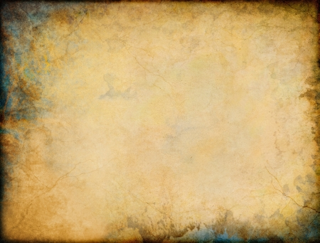 A vintage grunge background with patina-like colors and textures in two corners.