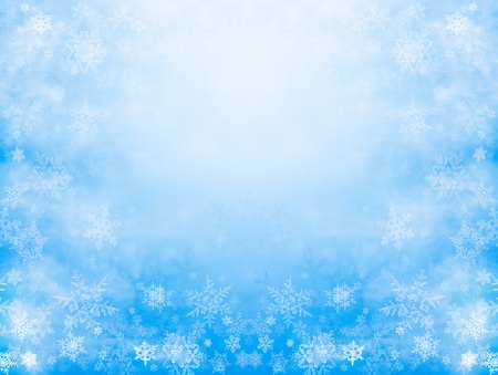 Sharp and diffuse snowflakes on a soft blue background with a mirrored kaleidoscope effect and glowing center.