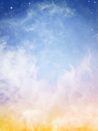 cloud background: Fog and clouds looking up into a fantasy night sky with stars.  Image has a pleasing paper texture when viewed at 100%.