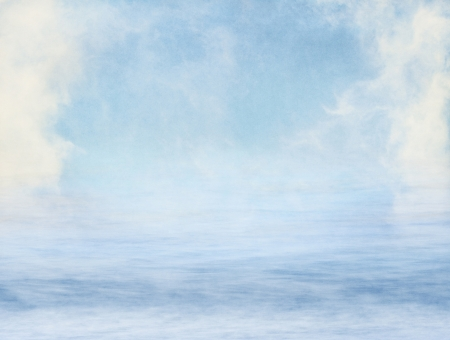 Fog and clouds over water overlaid with a textured paper background.  Image displays a pleasing grain at 100%.