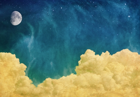 A fantasy cloudscape with a moon and stars overlaid with a vintage, textured watercolor paper background.  Image displays a pleasing paper grain at 100%. Stock Photo - 16900974