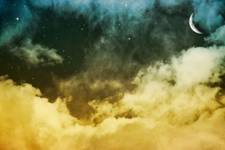 pleasing: Fantasy clouds and fog with evening stars and a crescent moon   Image displays a pleasing paper grain and texture