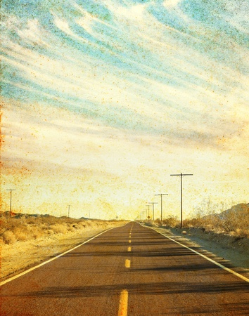 telephone pole: An empty desert road in Arizona Stock Photo