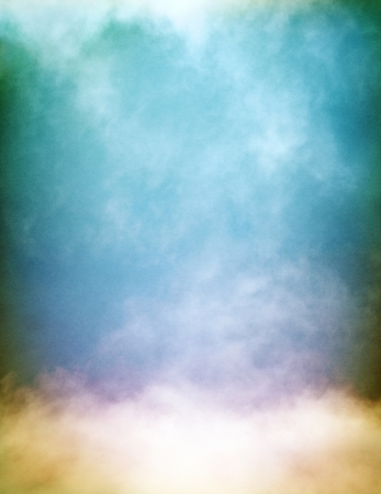 Rising fog and clouds on a colorful textured paper background   Image displays a pleasing grain pattern at 100   Stock Photo