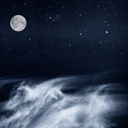 A fantasy cloudscape with a full moon and stars done in a cool-toned black and white rendition Image has a pleasing paper grain and texture when viewed at 100 percent