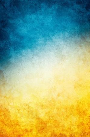 ゴールデン イエロー グラデーションに濃い青と織り目加工のヴィンテージ紙の背景