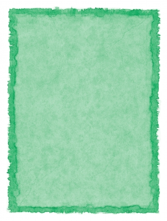 deckled: A green paper background with a stained deckle border.  Image displays a pleasing paper grain at 100 percent. Stock Photo