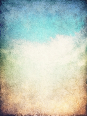 Fog and clouds on a blue to brown textured gradient background.  Image displays a distinct paper grain and texture at 100 percent.