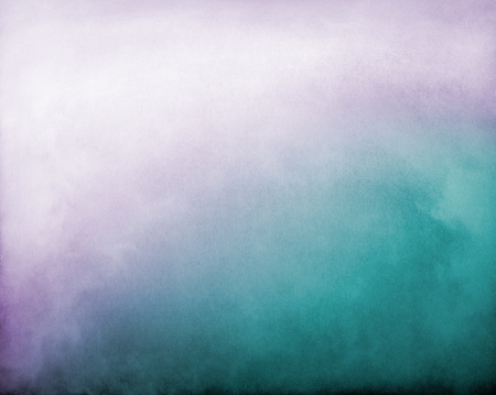 Fog and clouds on a purple to turquoise textured gradient background.  Image displays a distinct paper grain and texture at 100 percent.