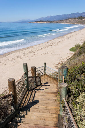 santa barbara: Stairs leading down to the beach and Pacific ocean near Santa Barbara, California  A coastal scene photographed at Rincon Park  Stock Photo