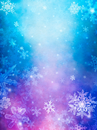 Snowflakes overlaid with colorful mist and fog.  Images displays a pleasing grain pattern at 100 percent. Stock Photo - 23924683