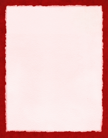 deckled: Light pink watercolor paper with true deckled edges on a textured red background   File includes a clipping path