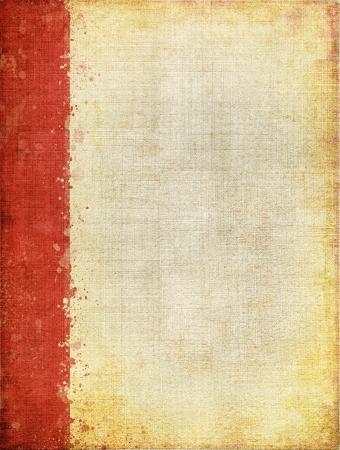 margen: Una cubierta de tela vintage con un patrón de pantalla distinto y grunge texturas de fondo Imagen muestra un margen de color rojo en su lado izquierdo