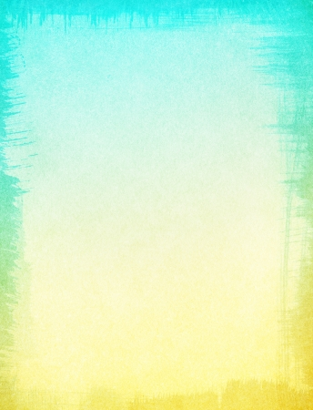 A textured paper background with a subtle yellow to turquoise blue gradient   Image displays a ragged edge border, and a distinct grain pattern at 100 percent  Stock Photo