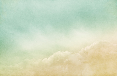 rendition: A retro rendition of fog, mist, and clouds on a vintage paper background.  Image has a pleasing grain and texture when viewed at 100 percent. Stock Photo