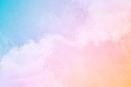 pastel: Soft fog and clouds with a pastel colored orange to blue gradient   Image has a pleasing paper grain and texture visible at 100 percent