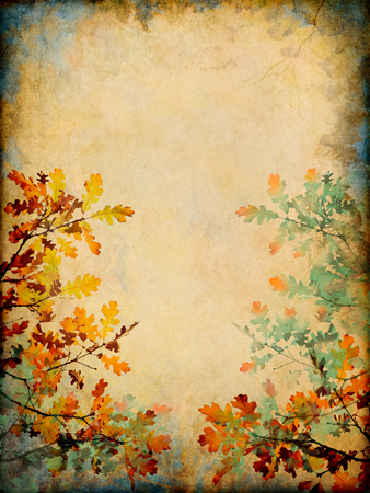autumn grunge: Autumn leaves on a grunge paper background.  Image displays a distinct paper grain and texture at 100 percent.