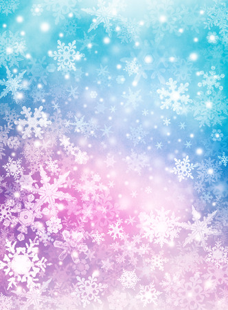 crystal background: Softly colored snowflakes on a textured paper background.  Image displays a pleasing paper grain and texture at 100 percent. Stock Photo