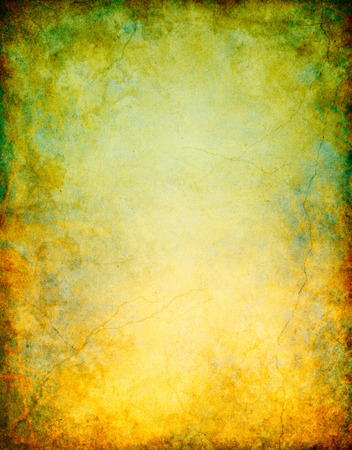 A vintage grunge background with patina-like colors and a rusty red to green color gradient.  Image displays significant paper grain and texture when viewed at 100 percent.